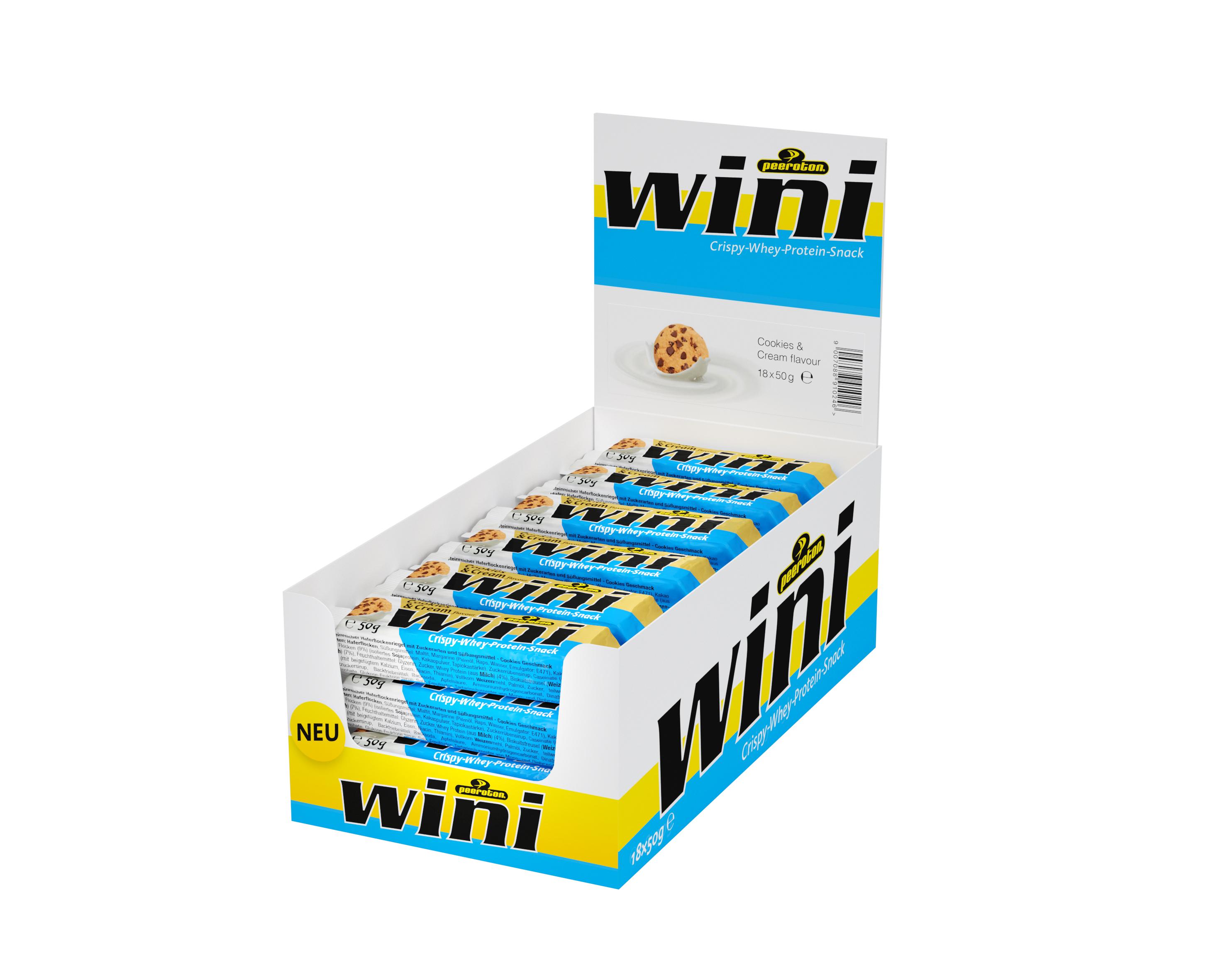 Peeroton WINI Crispy-Whey Protein Riegel Cookies & Cream 50g, 15+3 Gratis