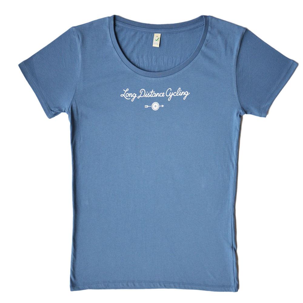 """Damen-Shirt """"Long distance cycling"""" - Faded Denim"""