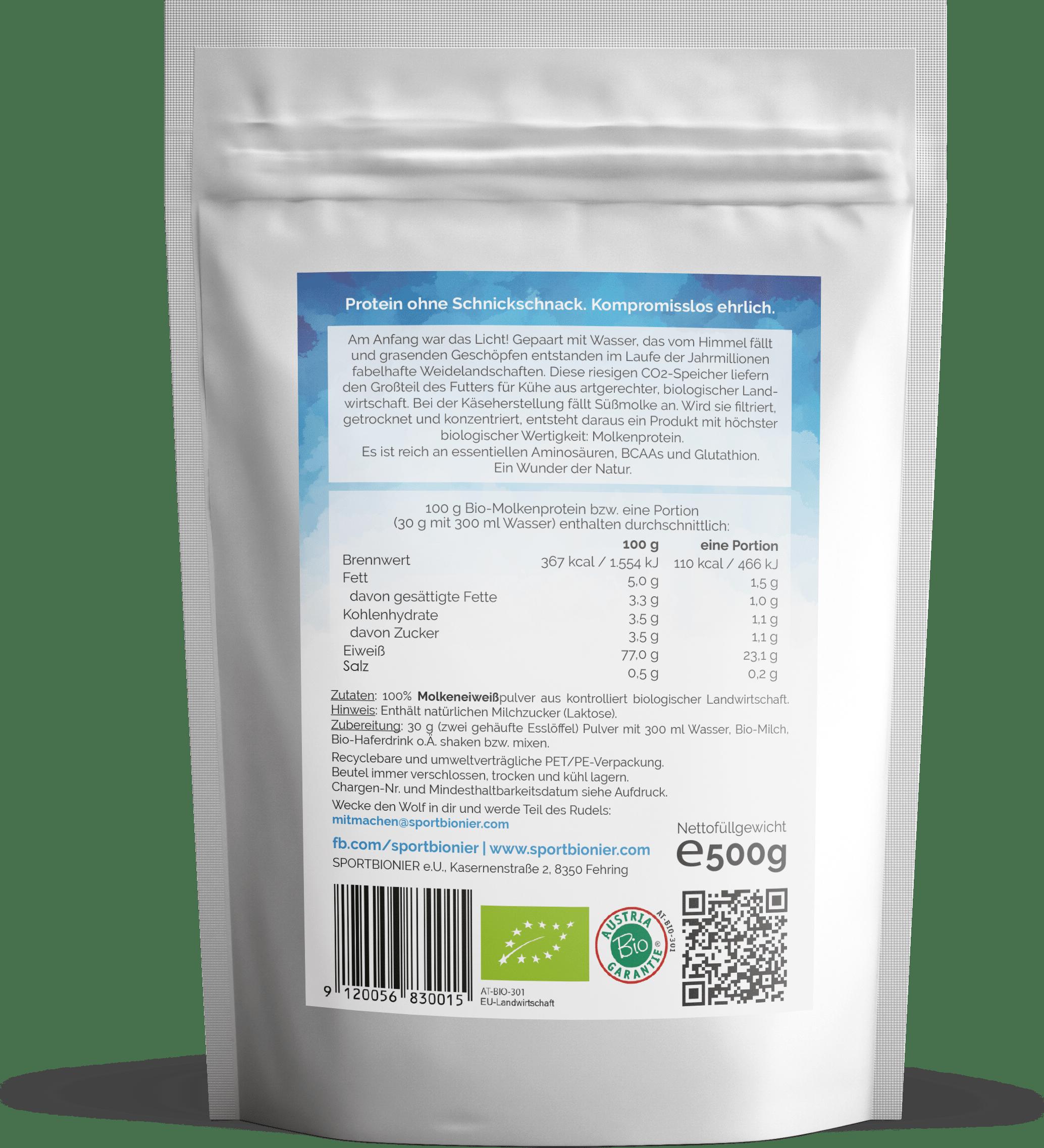 Sportbionier Bio Molkenprotein Neutral 500g